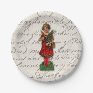 Prato De Papel Sucata de papel do Victorian vermelho querido do