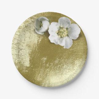 Prato De Papel T metálico do verde da hortelã da flor branca do