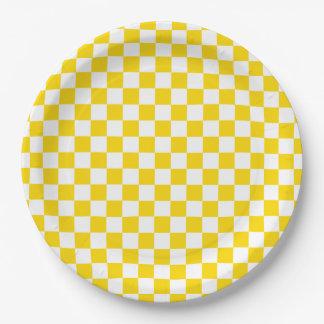 Prato De Papel Tabuleiro de damas amarelo