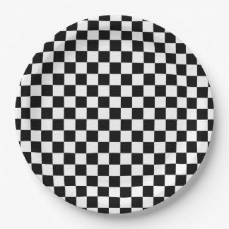 Prato De Papel Tabuleiro de damas preto e branco