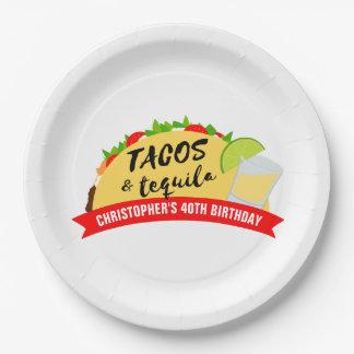 Prato De Papel Tacos e festa de aniversário do Tequila