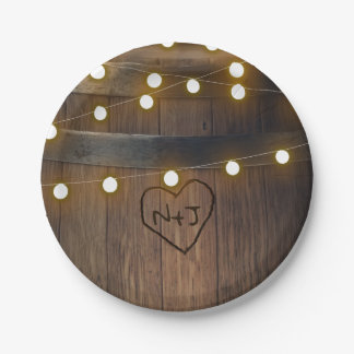 Prato De Papel Tambor de madeira o coração cinzelado ilumina o