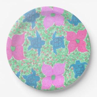 Prato De Papel Tartarugas de mar e placas de papel das flores