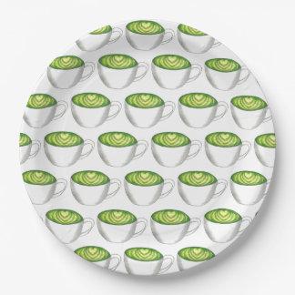 Prato De Papel Teacup Foodie de Latte do chá verde de Matcha do