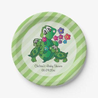 Prato De Papel Tema bonito do chá de fraldas da tartaruga