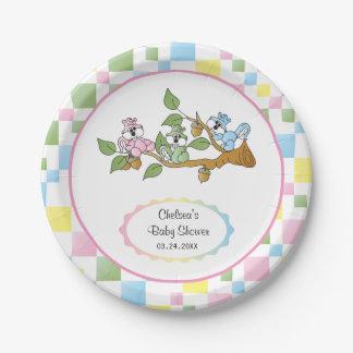 Prato De Papel Tema brincalhão do chá de fraldas do esquilo