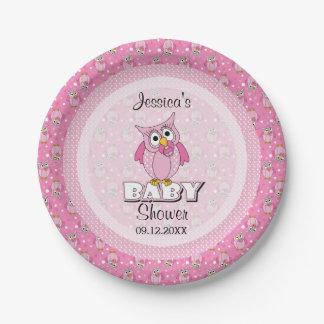 Prato De Papel Tema cor-de-rosa do chá de fraldas da coruja das