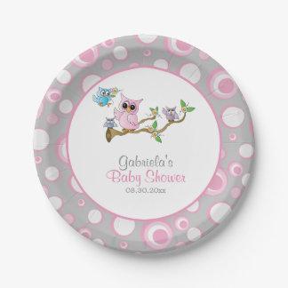 Prato De Papel Tema cor-de-rosa e cinzento do chá de fraldas da