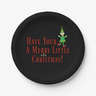 Prato De Papel Tenha seu duende um alegre pouco Natal bonito