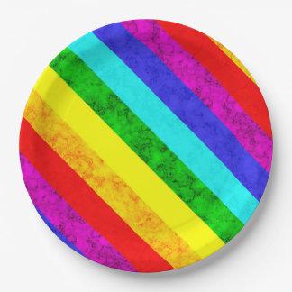 Prato De Papel Teste padrão abstrato do arco-íris