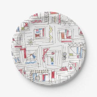 Prato De Papel Teste padrão abstrato Portland-Lunático do Doodle