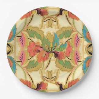 Prato De Papel Teste padrão alaranjado do papel de parede floral