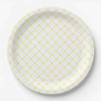 Prato De Papel Teste padrão amarelo brilhante elegante da treliça