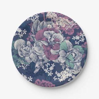 Prato De Papel Teste padrão artística do esboço floral roxo azul