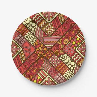 Prato De Papel Teste padrão asteca tribal abstrato do vermelho