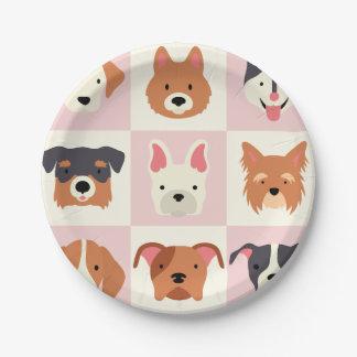 Prato De Papel Teste padrão bonito do rosa da raça do cão