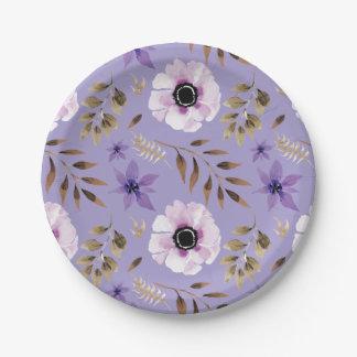 Prato De Papel Teste padrão botânico floral roxo tirado romântico