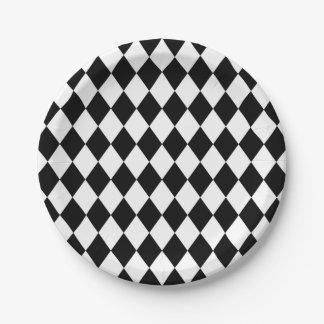 Prato De Papel Teste padrão branco lunático do diamante do