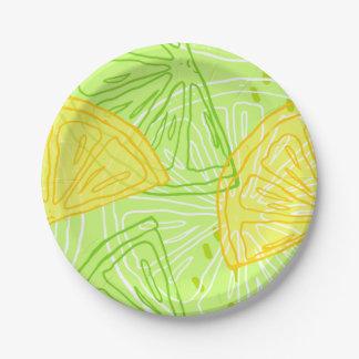 Prato De Papel Teste padrão brilhante dos limões do citrino do