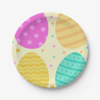 Prato De Papel Teste padrão colorido bonito dos ovos da páscoa