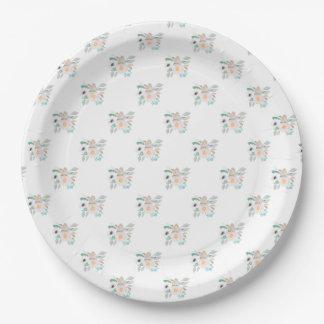 Prato De Papel Teste padrão cor-de-rosa e branco do buquê da