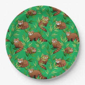 Prato De Papel Teste padrão das folhas da panda vermelha & do