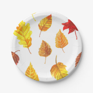 Prato De Papel Teste padrão das folhas de outono
