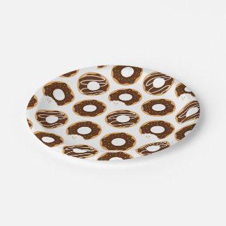 Prato De Papel Teste padrão das rosquinhas do chocolate