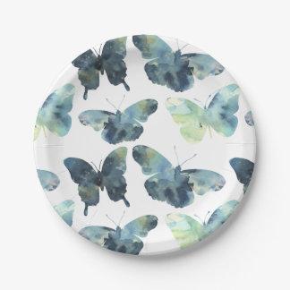 Prato De Papel Teste padrão de borboletas azul verde artístico da
