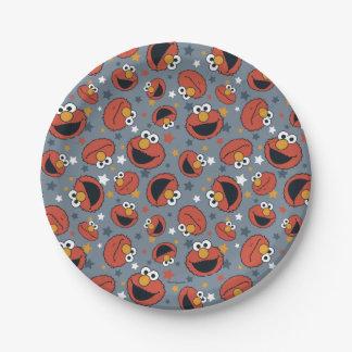 Prato De Papel Teste padrão de estrela das regras de Elmo   Elmo