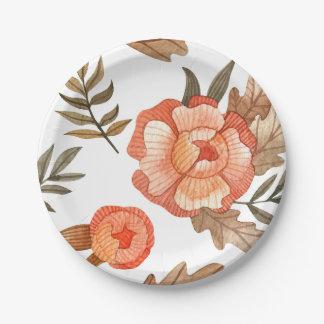 Prato De Papel Teste padrão de flor tirado do batik do outono mão