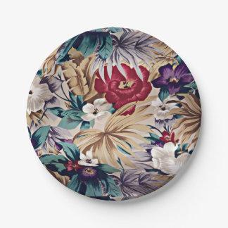 Prato De Papel Teste padrão de flor tropical retro