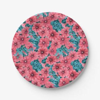 Prato De Papel Teste padrão de flor vermelho do petúnia da