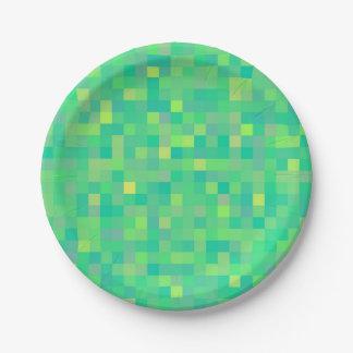 Prato De Papel Teste padrão de mosaico verde/amarelo na moda à