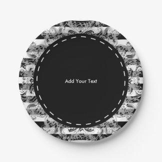 Prato De Papel Teste padrão | de Paisley e de listras preto,