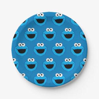 Prato De Papel Teste padrão de sorriso do monstro do biscoito
