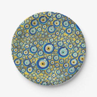 Prato De Papel Teste padrão de vidro azul grego do amuleto do