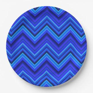 Prato De Papel Teste padrão de ziguezague das listras azuis
