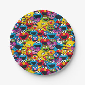 Prato De Papel Teste padrão do grupo do Sesame Street