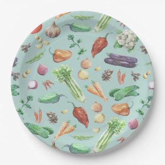 Prato De Papel Teste padrão dos vegetarianos & das especiarias da