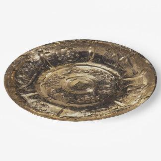 Prato De Papel Teste padrão dourado festivo elegante do número 50