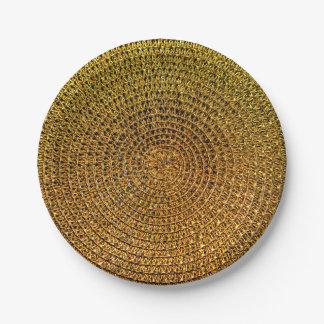 Prato De Papel Teste padrão espiral do ouro