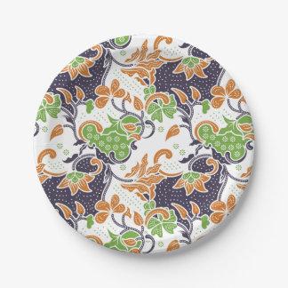 Prato De Papel Teste padrão floral artístico do batik das
