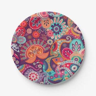 Prato De Papel Teste padrão floral de néon cor-de-rosa de Paisley
