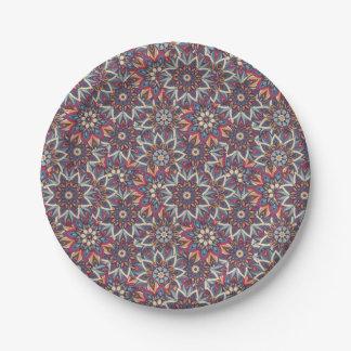 Prato De Papel Teste padrão floral étnico abstrato colorido da