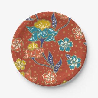 Prato De Papel Teste padrão floral indonésio exótico vermelho do