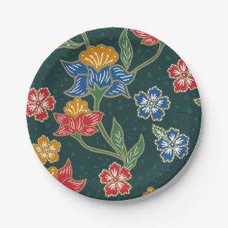 Prato De Papel Teste padrão floral indonésio verde escuro do