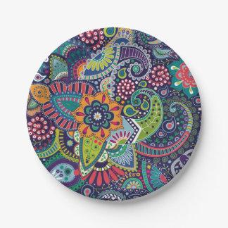 Prato De Papel Teste padrão floral multicolorido de néon de