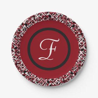 Prato De Papel Teste padrão floral preto & branco vermelho