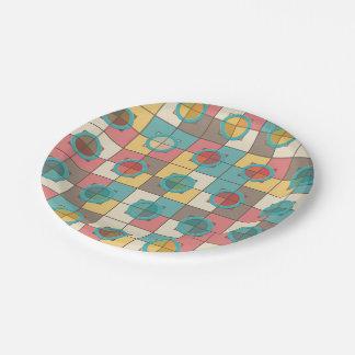 Prato De Papel Teste padrão geométrico colorido